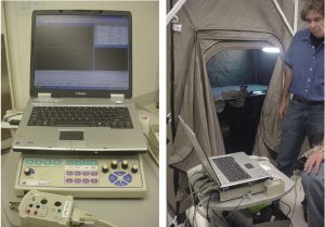 Figure 6. Initial calibration of the EMG machine outside of the shielded tent.