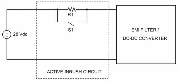 Figure 4. Discrete active inrush current limiting circuit using a series resistor.
