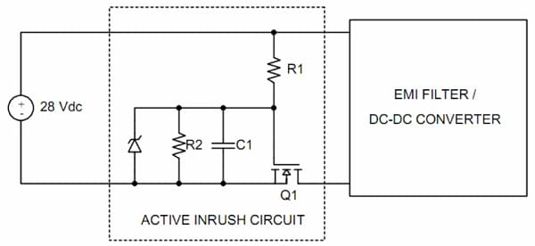 Figure 5. Discrete active inrush current limiting circuit using a series MOSFET.
