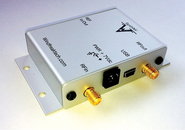Figure 5. The Windfreak Technologies model SynthNV RF generator is USB-controlled and tunes from 35 to 4400 MHz. It can also AM-modulate the RF output at 1 kHz, according to the radiated immunity standard IEC 61000-4-3. Image courtesy of Windfreak Technologies.