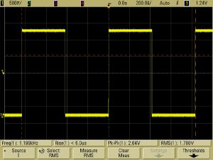 Figure 1 – A periodic square wave digital signal. The rise and fall times determine the amount of harmonic content in the frequency domain.