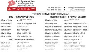 RF Conversion Formulas