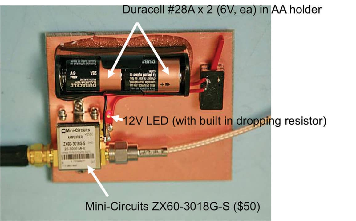 Assembling A Low Cost Emi Troubleshooting Kit Part 2 Immunity Circuit Board Clamping The Mini Circuits Model Zx60 3018g S Broadband 20 3000 Mhz Pre Amplifier Mounted On Pc Has Db Gain And 24 Noise Figure