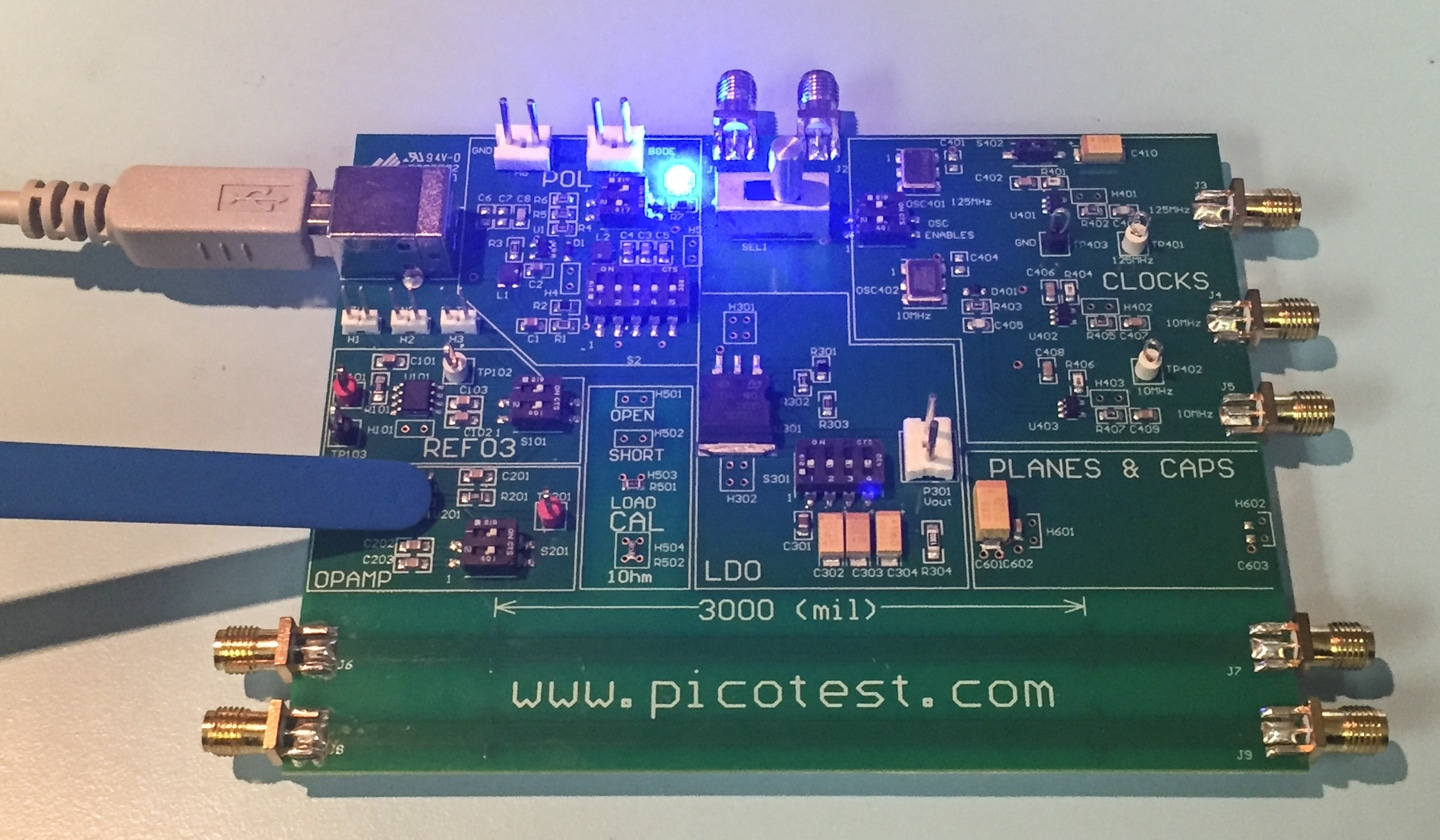 Emi Troubleshooting With Real Time Spectrum Analyzers Interference Coupled Analysis Of An Integrated Circuit Board Figure 7 Measuring Op Amp On The Picotest Technologies Demo